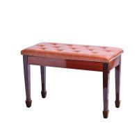 钢琴凳进口牛皮双人马蹄带书箱电子钢琴琴凳实木古筝凳儿童钢琴椅